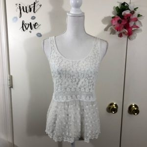 GILLY HICKS SYDNEY LACE CROCHETED MESH TOP SIZE SM